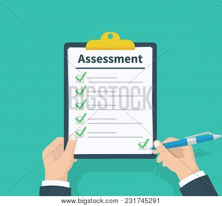 Man Hold Clipboard With Assessment, Green Ticks Checkmarks And Pen. Checklist, Test Complete Tasks,