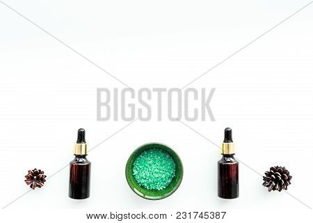 Pine Spa Cosmetics, Products For Skin Care. Fir Essential Oil And Green Aromatic Spa Salt Near Branc