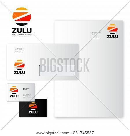 Zulu Logo.  African Travel & Tours Emblem. Identity, Business Card, Letter, Envelope.