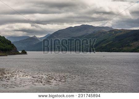 Dornie, Scotland - June 10, 2012: Confluence Of Loch Duich, Loch Long And Loch Alsh At Site Of Eilea