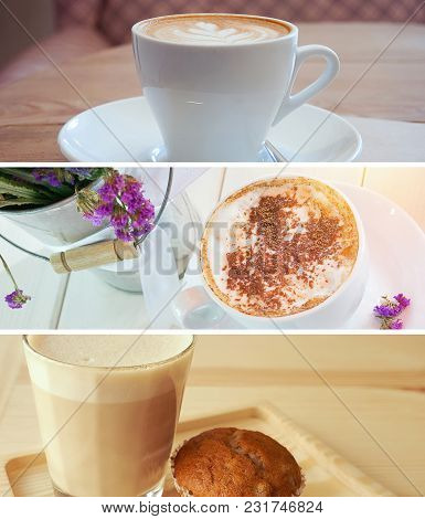 Set Of Morning Cappuccino Coffee Cup Banners; Cover Template For Social Networks