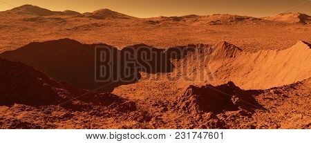 Mars - Red Planet - Landscape With Huge Crater From Impact And Mountains In The Distance - 3d Illust