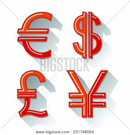 Dollar, Euro, Pound And Yen Currency Icons. Usd, Eur, Gbp And Jpy Money Sign Symbols, Vector