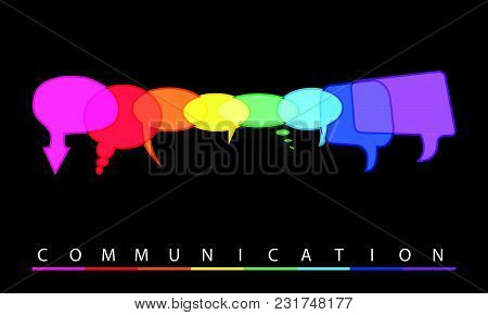 Illustration Of A Communication Concept With Communication Bubbles, Vector