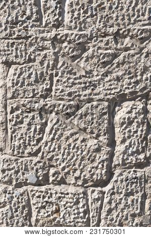 Background With Rough Or Rough Texture And Marked Reliefs Of A Tile Or Concrete Type Material