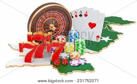 Casino And Gambling Industry In Pakistan Concept, 3d Rendering Isolated On White Background