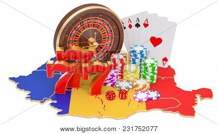 Casino And Gambling Industry In Romania Concept, 3d Rendering Isolated On White Background