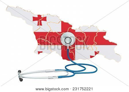 Georgian Map With Stethoscope, National Health Care Concept, 3d Rendering