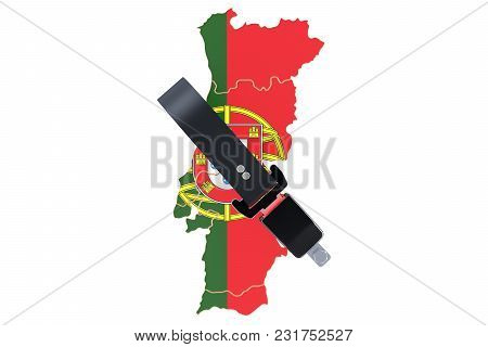 Portuguese Map With Safety Belt. Security And Protect Or Insurance Concept, 3d Rendering