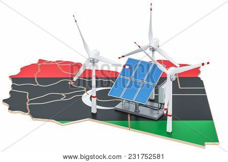 Renewable Energy And Sustainable Development In Libya, Concept. 3d Rendering Isolated On White Backg