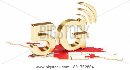 5g In Georgia Concept, 3d Rendering Isolated On White Background