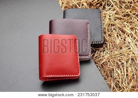 Set Of Three Red Brown And Black Wallet. Hand Made Leather Man Wallet . Multi Colored. Leather Craft
