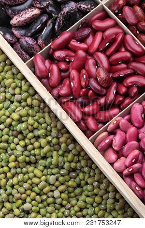 Different Types Of Legumes. In Wooden Box.varieties Of Beans.small Red Bean,scarlett Runner Bean Pha