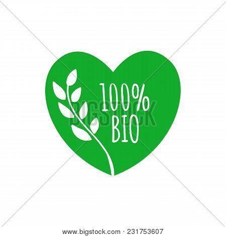 Bio Heart Shape Badge. Bio Green Label, Sticker, Icon, Ellement. Bio Logo For Products Packaging. Ve