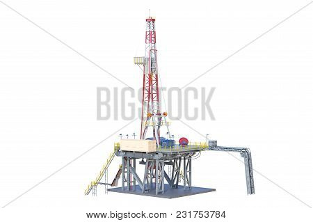 Rig Metal Platform Machinery Oil Production. 3d Rendering