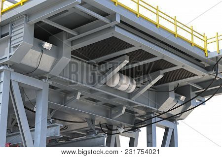 Land Rig Metal Industry Equipment, Close View. 3d Rendering
