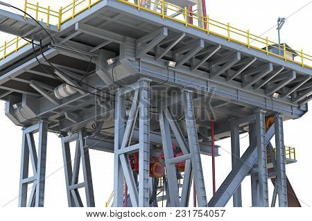 Land Rig Metal Oil Platform With Pipe, Close View. 3d Rendering
