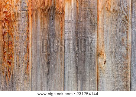 Fence Of Vertical, Tightly Fitting Unpainted Boards With Wood Structure