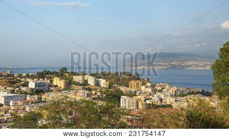 Afternoon View Of Messina Town With Messina Strait In The Background, Sicily, Italy