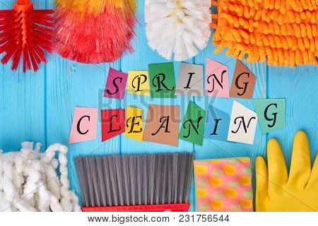 Spring Cleaning Concept With Supplies. Big Spring Cleaning. Cleaning Business Concept.