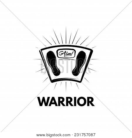 Weighing Scales. Warrior Inscription. Scales In Beams. Vector Illustration Isolated On White Backgro
