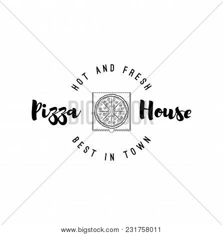 Pizza Box Badge. Pizza House Logo. Italian Food, Pizzeria Label, Pizza Delivery. Best In Town Text.