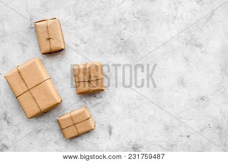 Parcels Box Delivery On Stone Background Top View Mock Up Parcels Box Delivery On Stone Table Backgr