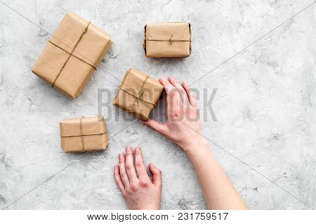 Delivery Service Office With Cardboard Box For Courier On Stone Desk Background Top View Mock-up