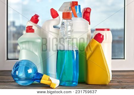 Set Of Chemicals For House Cleaning. Plastic Bottles With Detergents And Liquid Soap For Cleaning. B