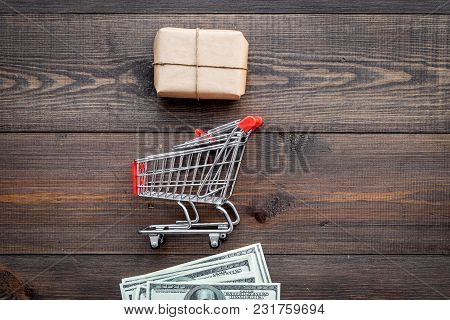 Parcels Box Delivery On Wooden Table Background Top View Mock Up