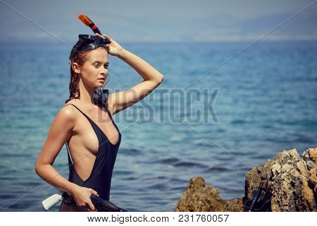 Beautiful woman rest on the beach