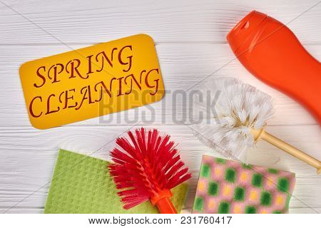 Spring Cleaning Background, Top View. Tools And Products For Home Cleaning. Domestic Cleaning Servic