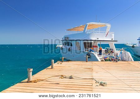 Luxury yacht at the pier of Red Sea in Egypt