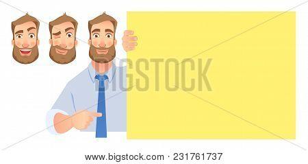 Businessman Holding Blank Presentation.  Set. Man Pointing At Blank Board