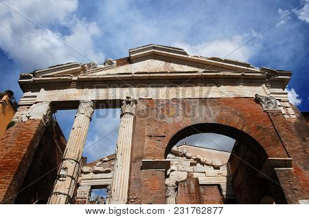 Porticus Octaviae Ancient Ruins At The Entrance Of The Jewish Ghetto In The Historic Center Of Rome