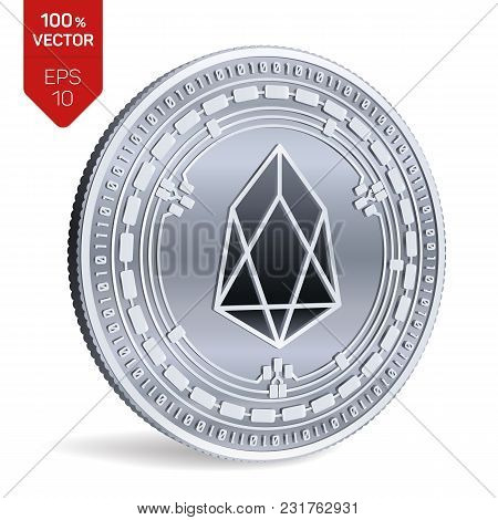 Eos. 3d Isometric Physical Coin. Digital Currency. Cryptocurrency. Silver Coin With Eos Symbol Isola