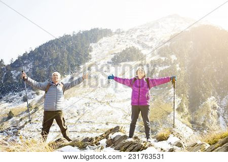 Happy Senior Couple Relaxed On The Mountain