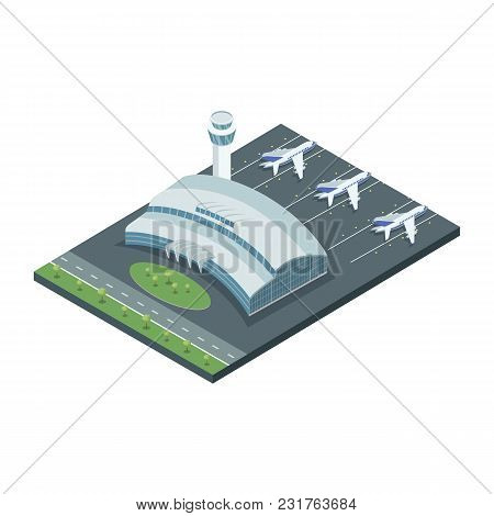 Isometric Model Of Airplanes On Field With Contemporary Building Of Airport.