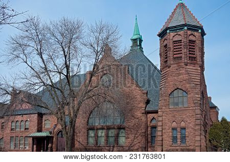 Landmark Church Building Of Richardsonian Romanesque Architecture In Minneapolis Minnesota