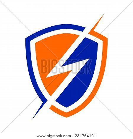 Electric Power Shield Modern Shield Vector Symbol Graphic Logo Design