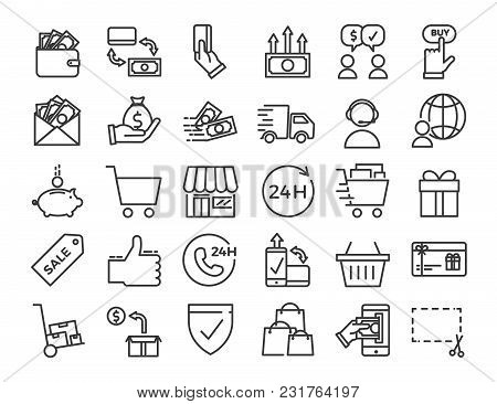 Online Business, Ecommerce, Shop, Market Thin Line Icons. Vector Design Illustration Set With Signs