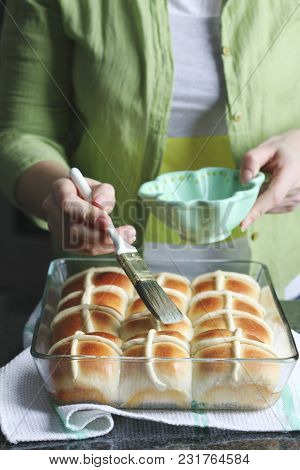 Homemade Easter Traditional Hot Cross Buns. Brush Syrup Over The Hot Cross Buns