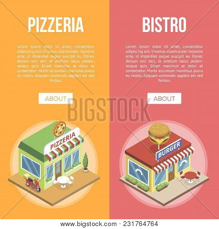 Banners With Pizzeria And Burger Bistro In Isometric View On Orange And Red Background.
