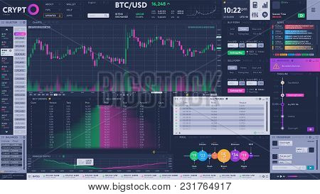 Cryptocurrency Exchange Terminal Interface With Diagram And Volume Ranking. Buy And Sell Cryptocurre
