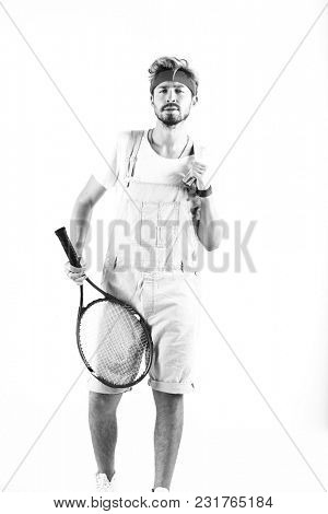 Monochrome portrait of a young tennis player