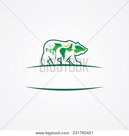 Landscape Emblem Design Company Or Green Landscaping Studio Icon Forming A Bear. Vector Symbol Of Gr