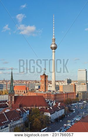 TV tower in Berlin City next to the Rotes Rathaus in front of a blue sky