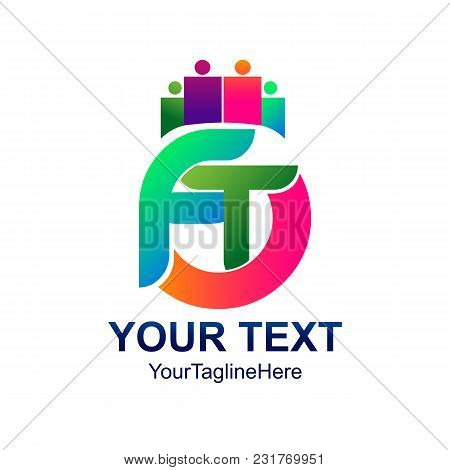 Initial Letter Ft Logo Template Colorfull Design For Business And Company Identity