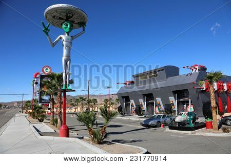 Baker, California 3-15-2018: Alien Beef Jerky Store in Baker California. Baker California is a stop on the way to Las Vegas or California on route interstate 15.