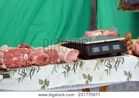 Meat market. March 17,2018 in Kiev,Ukraine